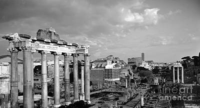 Abstract Skyline Rights Managed Images - Roman Forum And Colosseo BW Royalty-Free Image by Stefano Senise