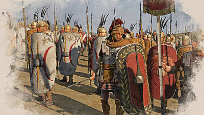Painting - Roman Legion In Battle - 23 by Andrea Mazzocchetti