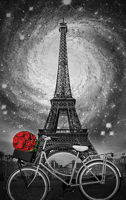 Photograph - Romance At The Eiffel Tower by Debra and Dave Vanderlaan
