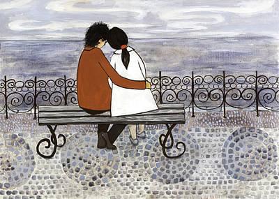 Romance On The Sea Side Art Print by Georgiana Chitac
