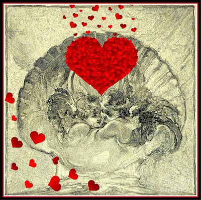 Mixed Media - Romantic Cherubs With Hearts And Scallop Shell by Peter Gumaer Ogden and Walter Shirlaw