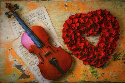 Photograph - Romantic Violin And Heart by Garry Gay