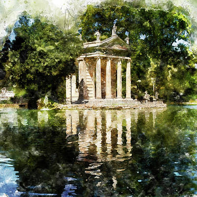 Painting - Rome, Ancient Temple Of Aesculapius - 04 by Andrea Mazzocchetti