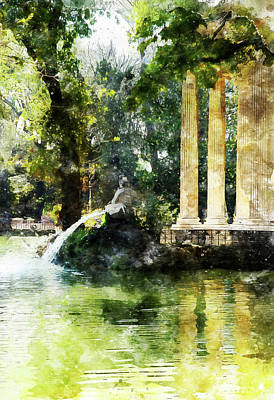 Painting - Rome, Ancient Temple Of Aesculapius - 05 by Andrea Mazzocchetti