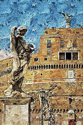 Painting - Rome, Mausoleum Of Hadrian - 03 by Andrea Mazzocchetti