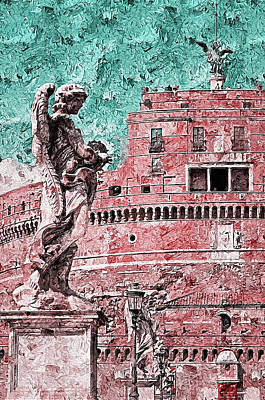 Painting Royalty Free Images - Rome, Mausoleum of Hadrian - 04 Royalty-Free Image by AM FineArtPrints