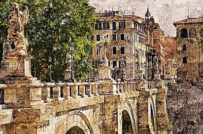 Castel Santangelo Wall Art - Painting - Rome, Ponte Sant'angelo - 01 by Andrea Mazzocchetti