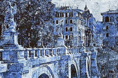 Castel Santangelo Wall Art - Painting - Rome, Ponte Sant'angelo - 02 by Andrea Mazzocchetti