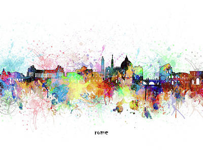 Abstract Skyline Royalty-Free and Rights-Managed Images - Rome Skyline Artistic by Bekim M