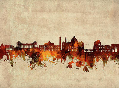 Abstract Skyline Royalty-Free and Rights-Managed Images - Rome Skyline Sepia by Bekim M