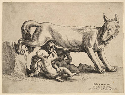Drawing - Romulus And Remus by Wenceslaus Hollar