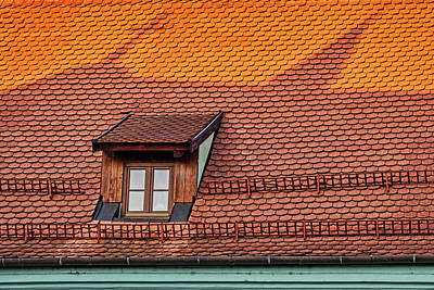 Photograph - Roof With Window And Church Shadow - Romania by Stuart Litoff
