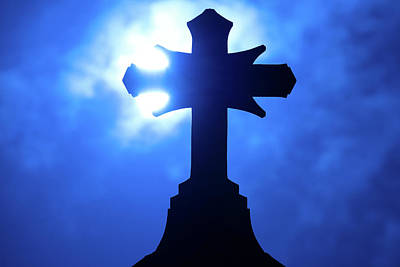 Royalty-Free and Rights-Managed Images - Rooftop Cross Silhouette by Steve Gadomski