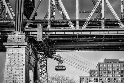 Photograph - Roosevelt Tram Underneath The 59 St Bridge Bw by Susan Candelario