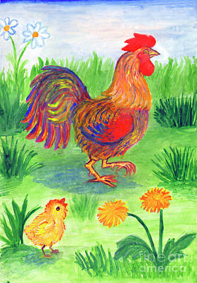 Painting - Rooster And Little Chicken by Dobrotsvet Art