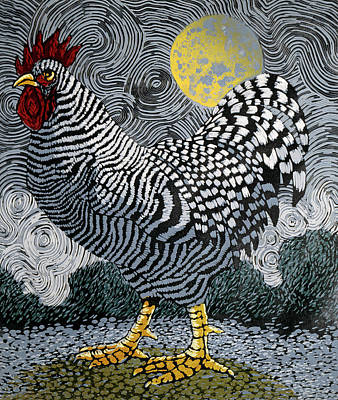 Painting - Rooster And Moon II By Barry Wilson by Superstock