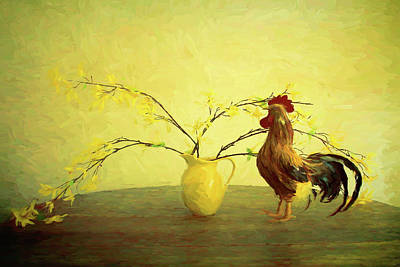 Photograph - Rooster And Vase Inspired By Van Gogh by Tony Grider