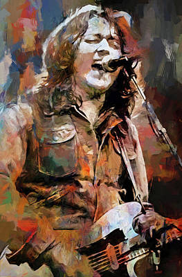 Musicians Mixed Media Royalty Free Images - Rory Gallagher Royalty-Free Image by Mal Bray