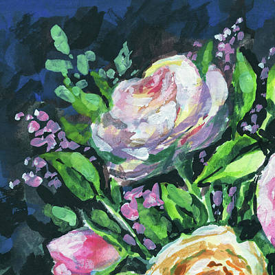 Painting - Rose And Lilac Flowers Bouquet Floral Impressionism  by Irina Sztukowski