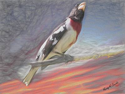 Digital Art - Rose-breasted Grosbeak Pearching. by Rusty R Smith