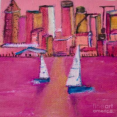 Painting - Rose Colored City by Kim Nelson