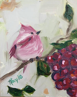 Pink Painting - Rose Finch On A Grape Vine by Roxy Rich