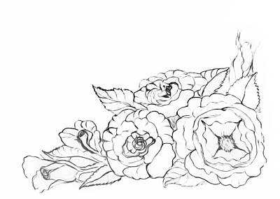 Drawing - Rose Floral Bouquet Paint My Sketch by Delynn Addams