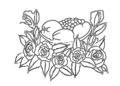 Drawing - Rose Fruit Basket - Paint My Sketch By Delynn Addams by Delynn Addams