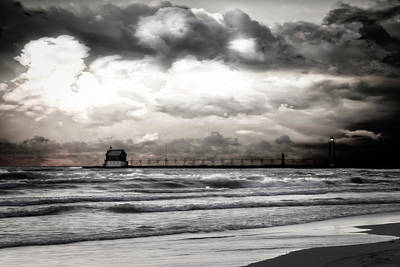 Photograph - Rose Gold Sunset Grand Haven Michigan by Evie Carrier