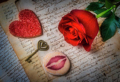 Photograph - Rose On Old Letters With Cookies by Garry Gay