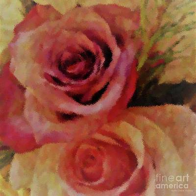 Urban Abstracts Royalty Free Images - Rose Pair Square Royalty-Free Image by Barbie Corbett-Newmin