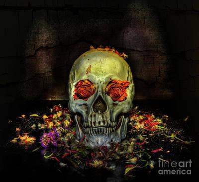 Digital Art - Rose Skull by Nigel Bangert
