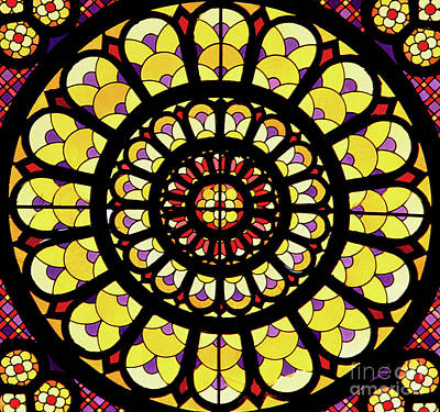 Glass Art - Rose Window Stained Glass by French School