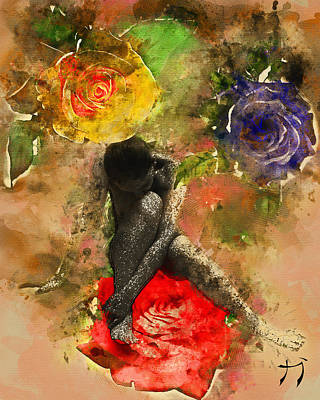 Mixed Media - Rosebuds by Carlos Paredes