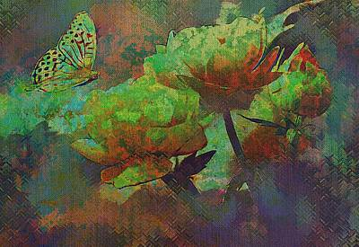 Mixed Media - Roses And Butterfly In Abstract Colours by Clive Littin
