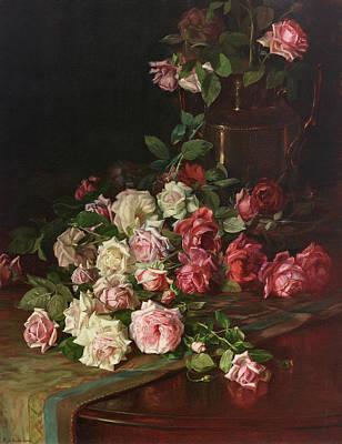 Of Roses And Love Wall Art - Painting - Roses And Mahogany by Robert Jenkins Onderdonk