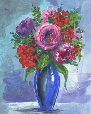 Painting - Roses And Red Flowers Bouquet Floral Impressionism  by Irina Sztukowski