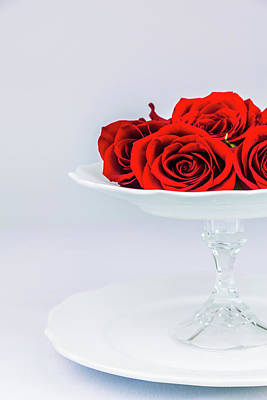 Photograph - Roses Atop A Tiered Porcelain Centerpiece by Jeanette Fellows