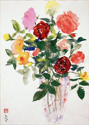Close Up Painting - Roses By Sir Roy Calne by Sir Roy Calne