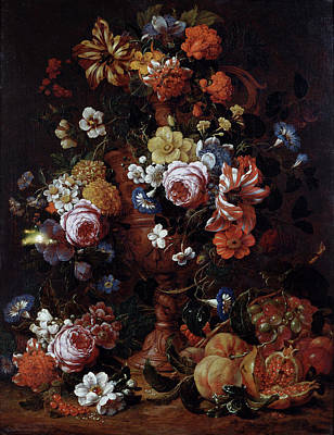Painting - Roses, Carnations And Other Flower In by Superstock