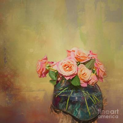 Mixed Media - Roses In A Vase by Eva Lechner
