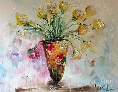 Art Print featuring the painting Roses In Vase by Laurie Lundquist