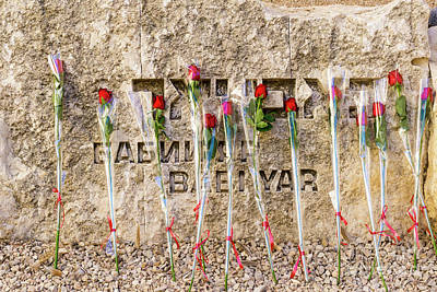 Photograph - Roses Placed By Bar And Bat Mitzvah Candidates Adorn The Babi Ya by William Kuta