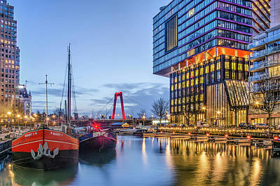 Photograph - Rotterdam In Red And Blue by Frans Blok