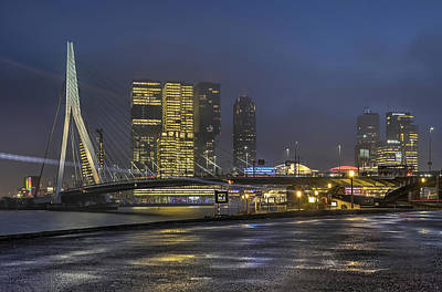 Photograph - Rotterdam Southbank In The Blue Hour by Frans Blok