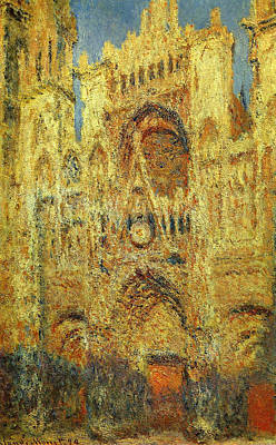 Antique Maps - Rouen  Cathedral at Sunset, 1894 by Claude Monet
