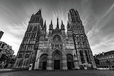 Photograph - Rouen Cathedral Monochrome by Randy Scherkenbach
