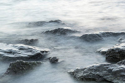 Photograph - Rough Silver Rocks And Soft Waves by Georgia Mizuleva