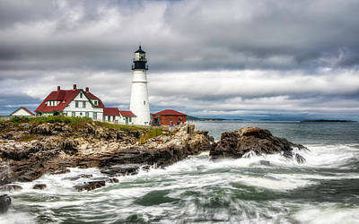 Achieving - Rough Surf at Portland Headlight by Jerry Fornarotto