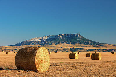 Photograph - Round Bales Square Butte by Todd Klassy